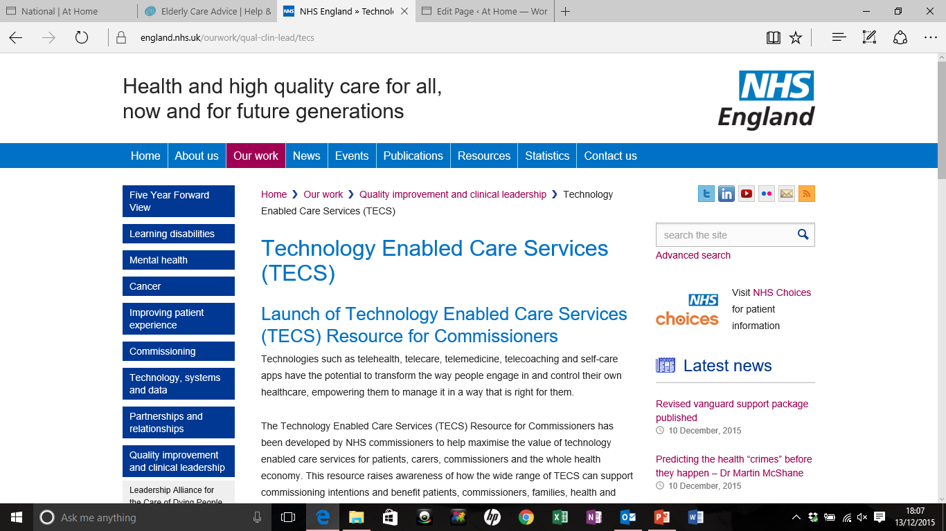nhs-technology-enabled-care-services-website-screenshot